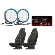 "Essential 7"" Domin8r X Driving Light Pack fitted with OSRAM LEDs + Heavy Duty Seat Covers"