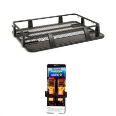 Steel Single Cab Roof Rack + Hercules Heavy Duty 3m Ratchet Strap (2 pack)