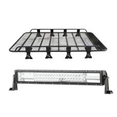 "Steel Tradie Roof Racks + Domin8r 22"" LED Light Bar"