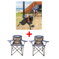 Adventure Kings Camp Oven/Stove + 2x Adventure Kings Throne Camping Chair