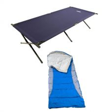 Adventure Kings Camping Stretcher Bed + Hooded Sleeping Bag - Right-Hand Zipper