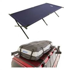 Adventure Kings Premium Waterproof Roof Top Bag + Camping Stretcher Bed