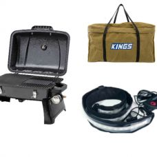 Gasmate Voyager Portable BBQ + Adventure Kings BBQ Canvas Bag + Illuminator MAX LED Strip Light