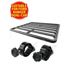 Adventure Kings Aluminium Platform Roof Rack Suitable for Ford Ranger Dual-Cab 2011+ + Platform Roofrack Shovel Holder