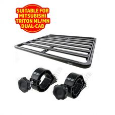 Adventure Kings Aluminium Platform Roof Rack Suitable for Mitsubishi Triton ML-MN Dual-Cab 2006-2015 + Platform Roofrack Shovel Holder