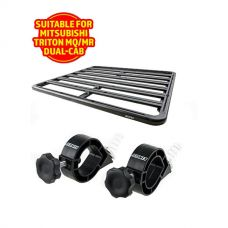 Adventure Kings Aluminium Platform Roof Rack Suitable for Mitsubishi Triton MQ-MR Dual-Cab 2015+ + Platform Roofrack Shovel Holder