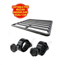 Adventure Kings Aluminium Platform Roof Rack Suitable for Nissan Navara D40 Dual-Cab + Platform Roofrack Shovel Holder