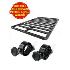 Adventure Kings Aluminium Platform Rack Suitable for Nissan Patrol GQ & GU Wagon + Platform Roofrack Shovel Holder