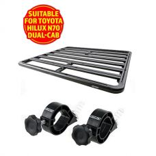 Adventure Kings Aluminium Platform Rack Suitable for Toyota HiLux N70 Dual-Cab + Platform Roofrack Shovel Holder
