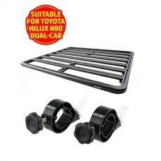 Adventure Kings Aluminium Platform Roof Rack Suitable for Toyota HiLux N80 Dual-Cab 2015+ + Platform Roofrack Shovel Holder