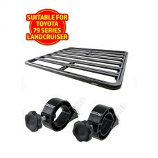 Adventure Kings Aluminium Platform Rack Suitable for Toyota Landcruiser 79 Series Dual-Cab + Platform Roofrack Shovel Holder