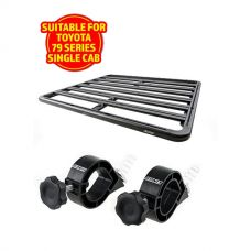 Adventure Kings Aluminium Platform Rack Suitable for Toyota Landcruiser 79 Series Single-Cab + Platform Roofrack Shovel Holder