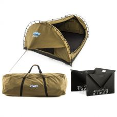 Adventure Kings 'Big Daddy' Deluxe Double Swag + Swag Canvas Bag + Portable Steel Fire Pit