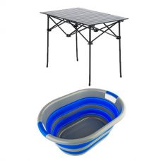 Adventure Kings Aluminium Roll Up Camping Table + Collapsible Laundry Basket