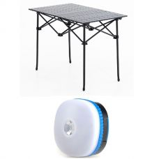 Adventure Kings Aluminium Roll Up Camping Table + Adventure Kings Mini Lantern