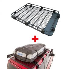 Steel Roof Rack 3/4 Length + Adventure Kings Premium Waterproof Roof Top Bag