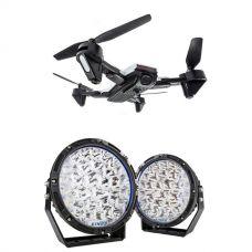 "Kings Lethal 9"" Premium LED Driving Lights (Pair)  + Adventure Kings Cyclone Drone"