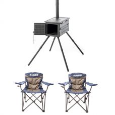 Kings Premium Camp Oven Stove + 2x Adventure Kings Throne Camping Chair