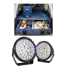 """Titan Rear Drawer with Wings suitable for Toyota Landcruiser 100 Series (GXL 2005+ Air Con in rear) + Kings Lethal 9"""" Premium LED Driving Lights (Pair)"""