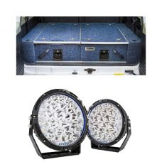"""900mm Titan Rear Drawers suitable for smaller wagons + Kings Lethal 9"""" Premium LED Driving Lights (Pair)"""