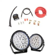 """Kings Lethal 9"""" Premium LED Driving Lights (Pair)  + Adventure Kings Dual Battery System"""