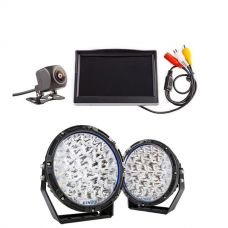 """Kings Lethal 9"""" Premium LED Driving Lights (Pair) + Adventure Kings Reverse Camera Kit with 5"""" Screen"""