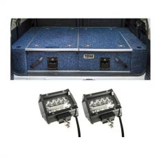 "Titan Rear Drawer with Wings suitable for Nissan Patrol GQ + 4"" LED Light Bar (Pair)"