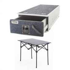Titan Single Ute Drawer 1300mm + Kings Portable Alloy Camping Table