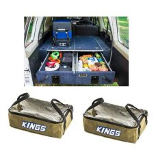 Titan Rear Drawer with Wings suitable for Toyota Landcruiser 100 Series (GXL 2005+ Air Con in rear) + 2x Adventure Kings Clear Top Canvas Bag