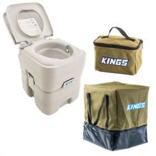 Adventure Kings Portable Camping Toilet + Toiletry Canvas Bag + Camping Toilet Bag