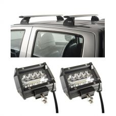 "Adventure Kings Track Mount Rack - Suitable for Navara NP300 Dual Cab 2015+ + 4"" LED Light Bar (Pair)"