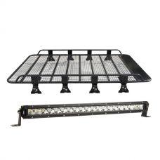 "Steel Tradie Roof Racks + Kings 20"" Slim Line LED Light Bar"