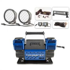 "Ultimate 7"" Driving Lights, 22"" Light Bar & 2x 4"" Light Bar Pack + Thumper Max Dual Air Compressor"
