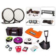 "Ultimate 9"" Driving Lights, 22"" Light Bar & 2x 4"" Light Bar Pack + Hercules Complete Recovery Kit"
