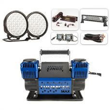"Ultimate 9"" Driving Lights, 22"" Light Bar & 2x 4"" Light Bar Pack + Thumper Max Dual Air Compressor"
