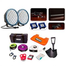 """Ultimate 9"""" Domin8r X Driving Light Pack fitted with OSRAM LEDs + Hercules Complete Recovery Kit"""