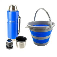 Adventure Kings Collapsible 10L Bucket + 1.2L Vacuum Flask