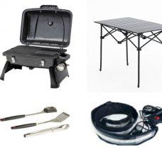 Gasmate Voyager Portable BBQ + Adventure Kings BBQ Tool Set + Aluminium Roll-Up Camping Table + Illuminator MAX LED Strip Light