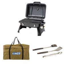 Gasmate Voyager Portable BBQ + Adventure Kings BBQ Canvas Bag + BBQ Tool Set