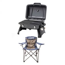 Gasmate Voyager Portable BBQ + Throne Camping Chair