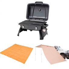 Gasmate Voyager Portable BBQ + Adventure Kings Awning Side Wall + Mesh Flooring 3m x 3m