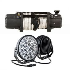 """Domin8r Xtreme 12,000lb Winch + Kings 9"""" LED Driving Lights (pair)"""