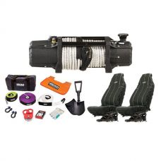 Domin8r Xtreme 12,000lb Winch + Hercules Complete Recovery Kit + Adventure Kings Heavy Duty Seat Covers (Pair)