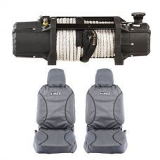 Domin8r Xtreme 12,000lb Winch + Kings Universal Premium Canvas Seat Covers (Pair)