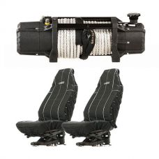 Domin8r Xtreme 12,000lb Winch + Adventure Kings Heavy Duty Seat Covers (Pair)