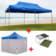 Adventure Kings - Gazebo 6m x 3m + 2x Adventure Kings Gazebo Side Wall + Camp Fire BBQ Plate