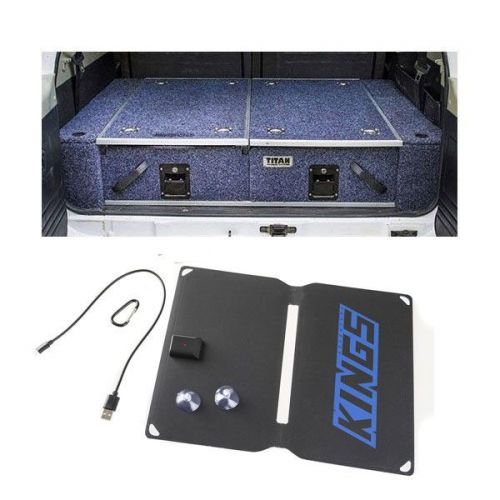 Titan Rear Drawer with Wings suitable for Toyota Landcruiser 100 Series (GXL 2005+ Air Con in rear) + Adventure Kings 10W Portable Solar Kit