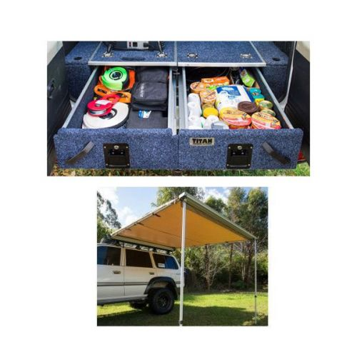 Titan Rear Drawer with Wings Suitable for Toyota Landcruiser 100 Series (GXL 2005+ Air Con in rear) + Adventure Kings Awning 2.5x2.5m