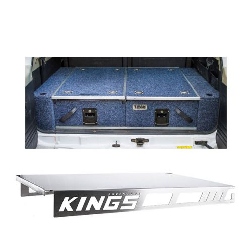 Titan Rear Drawer with Wings suitable for Toyota Landcruiser 100 Series (GXL 2005+ Air Con in rear) + Drawer Table suitable for 1070mm Titan Drawers
