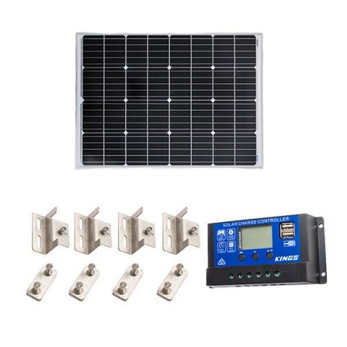 Adventure Kings 110w Fixed Solar Panel + Mounting Brackets to Suit Kings 110W Fixed Solar Panel + 15A PWM Solar Controller